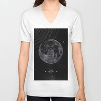 the moon V-neck T-shirts featuring MOON by Alexander Pohl