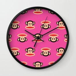 Julius Monkey Pattern by Paul Frank - Pink Wall Clock