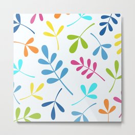 Multicolored Assorted Leaf Silhouettes Metal Print