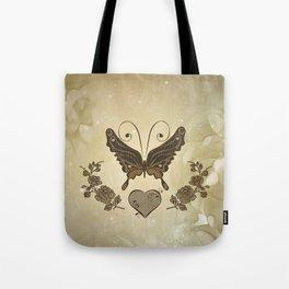 Beautiful elegant butterflies with heart Tote Bag