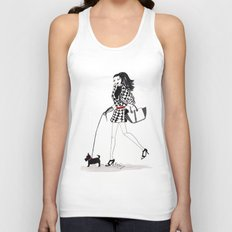 Houndstooth and a Scottie Watercolor Fashion Illustration Unisex Tank Top
