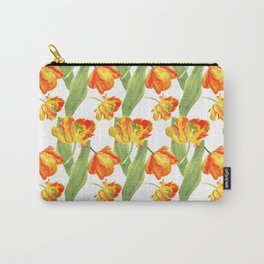 Watercolor Parrot Tulips Carry-All Pouch