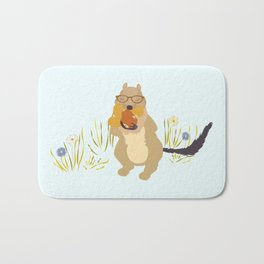 Nut Crazy...- Modern, Quirky, Cute, Woodland Creature, Squirrel Illustration Print Bath Mat