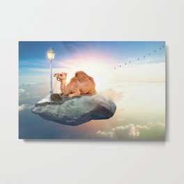 Kiwi and camel riding on a rock in the sky by GEN Z Metal Print