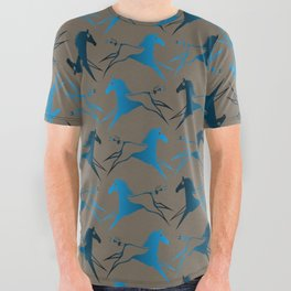 Blue Brown War Horse All Over Graphic Tee