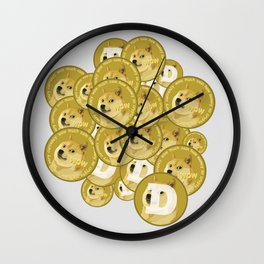 Such coins, so much dogecoins Wall Clock