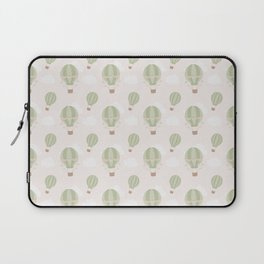 Vintage green ivory hot air balloons clouds pattern Laptop Sleeve