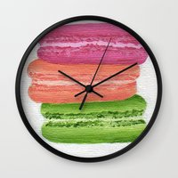 macaroons Wall Clocks featuring Macaroons by Nicole Malcolm