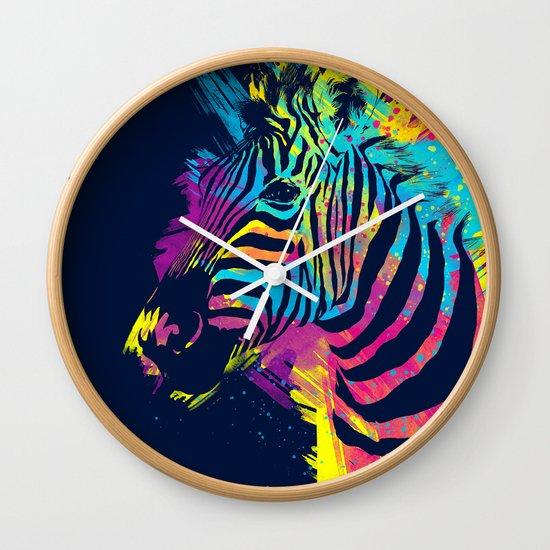 Zebra Splatters Colorful Animals Wall Clock
