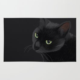 Black cat in the dark Rug