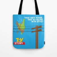 toy story Tote Bags featuring Toy Story - Falling With Style by Gary Wood