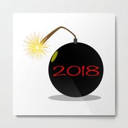 Cartoon 2018 New Year Bomb Metal Print