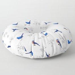 New,Mountain bluebird,floral pattern Floor Pillow