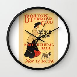 Vintage Poster - Boston Terrier Club - Bench Show - Horticultural Hall Wall Clock