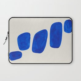 Minimalist Modern Mid Century Colorful Abstract Shapes Phthalo Blue Native Pebbles Stacked Laptop Sleeve
