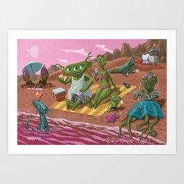 alien beach vacation Art Print