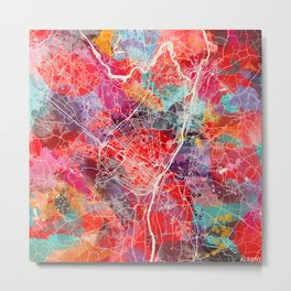 Albany map New York painting square 2 Metal Print