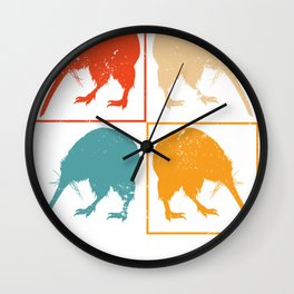 Retro Pop Art Kiwi Wall Clock