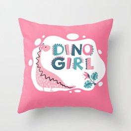 Dino Girl, Pink Throw Pillow