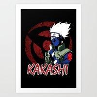 kakashi Art Prints featuring KAKASHI by BradixArt