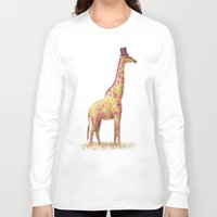 giraffe Long Sleeve T-shirts featuring Fashionable Giraffe by Terry Fan