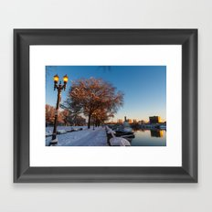 Snow: Portland Waterfront Framed Art Print