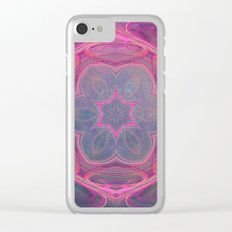 whimsical fractal love in pink Clear iPhone Case
