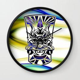 Vicious Tribal Mask Blue 009 Wall Clock