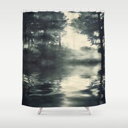 Misty pine forest Shower Curtain
