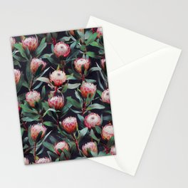 Evening Proteas - Pink on Charcoal Stationery Cards