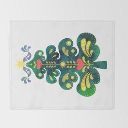 Traditional Scandinavian Folk Art Tree Throw Blanket