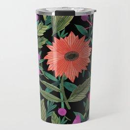 Botanical black coral violet green watercolor floral Travel Mug