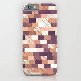 Solid brick wall with diagonal crossed lines, redwod and eggplant colored print iPhone Case