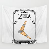 the legend of zelda Wall Tapestries featuring Zelda legend - Boomerang by Art & Be