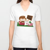 parks and rec V-neck T-shirts featuring South Parks and Rec by JVZ Designs