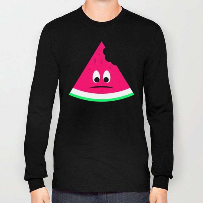 Cute sad bitten piece of watermelon Long Sleeve T-shirt