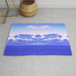 on vaporwave mountain aesthetic abstract nature photography Rug