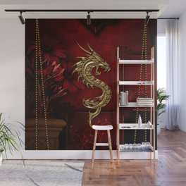 Wonderful golden chinese dragon Wall Mural