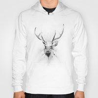 stag Hoodies featuring Stag by Alexis Marcou