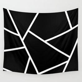 Black and White Fragments - Geometric Design II Wall Tapestry