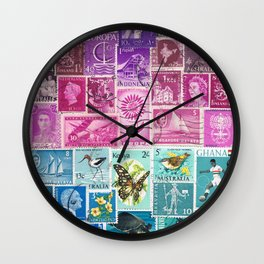 Midnight Sea Postage Stamp Collage Wall Clock