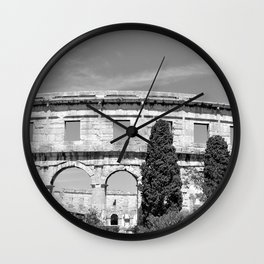 arena amphitheatre pula croatia ancient black white Wall Clock