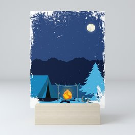 Camping Tent in Moonlight with Campfire Mini Art Print