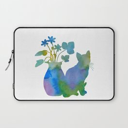 Cat And Flowers Laptop Sleeve