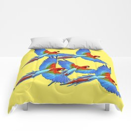 FLOCK OF BLUE MACAWS ON YELLOW Comforters
