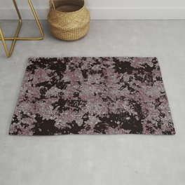 Silver Frost, Eggplant and Black Ice Abstract Pattern Rug