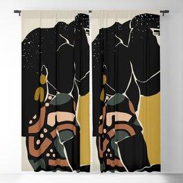 Black Hair No. 10 Blackout Curtain