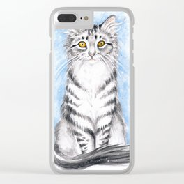 Silver Tabby Cat Clear iPhone Case