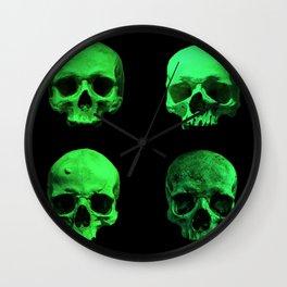 Skull quartet green Wall Clock