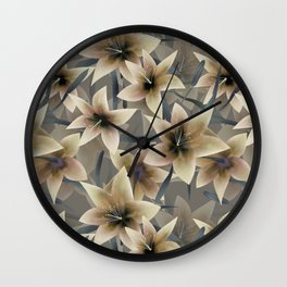 Lily. Grey beige floral pattern . Wall Clock